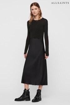 AllSaints Black Sparkle Kowlo 2 In 1 Satin Jumper Dress