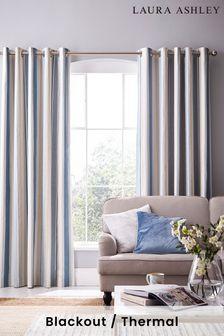 Laura Ashley Seaspray Awning Stripe Eyelet Curtains