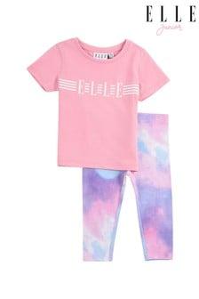 ELLE Pink Linear Logo Tee & Legging Set