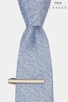 Moss London weiche Krawatte mit Krawattennadel, blau