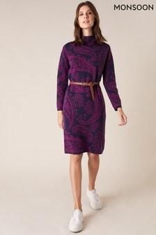 שמלתסריג מג'קארדשלMonsoon דגםPaisley בצבע כחול