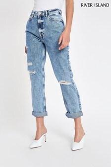 River Island Denim Mid Acid Mom Bundy Jeans