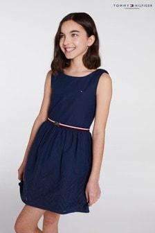 Tommy Hilfiger Shiffley Kleid mit Verzierung am Saum, Blau