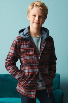方格圖案有帽外套 (3-16歲)