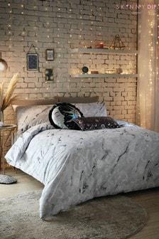 Skinnydip Grey Marble Celestial Duvet Cover And Pillowcase Set