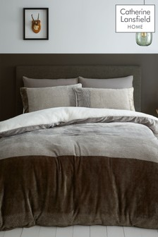 Catherine Lansfield Two Tone Banded Fleece Sherpa Duvet Cover and Pillowcase Set