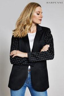 Harpenne Black Embellished Sleeve Blazer