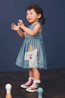 Платье на пуговицах с единорогом  (3 мес.-7 лет)