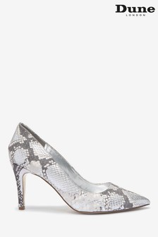 Dune London Silver Anna Leather Signature Heel Trim Shoes