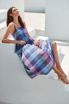 Trapeze Cotton Midi Dress