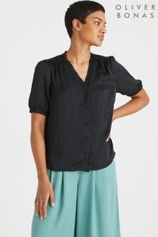 חולצת שרוול קצר שלOliver Bonas עם סאטן ומלמלה בשחור