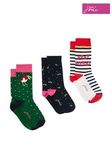 Lot de trois paires de chaussettes de Noël JoulesCracker rouges