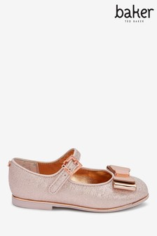 Baker By Ted Baker Rose Gold Sparkle Bow Mary Janes
