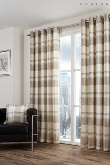 Fusion Balmoral Check Lined Eyelet Curtains