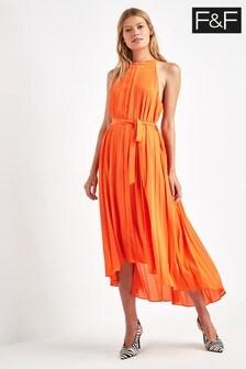F&F - Oranje geplooide lange jurk
