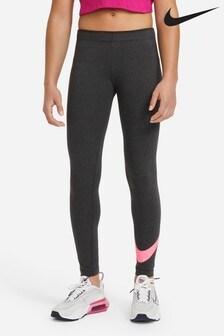Черные/розовые леггинсы с логотипом Nike