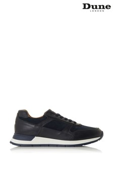Dune London Tenor Navy Leather Lace-Up Trainers