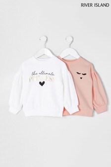 River Island Princess Sweatshirts, Weiß, 2er-Pack