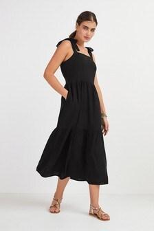 Tie Shoulder Tier Midi Dress