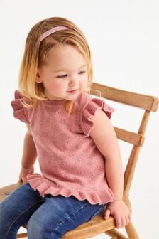 Short Sleeve Pointelle Frill Top (3mths-7yrs)