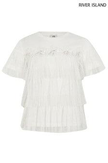 Biele tričko s kvietkami a sieťovinou River Island