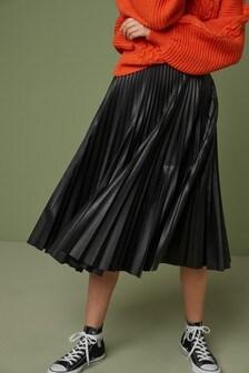 Плиссированная юбка миди из полиуретана