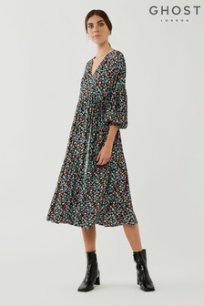Ghost Caspy Floral Print Crepe Wrap Dress