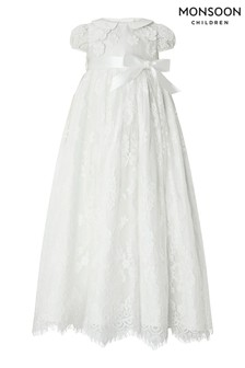 Monsoon Children White Baby Provenza Silk Christening Gown