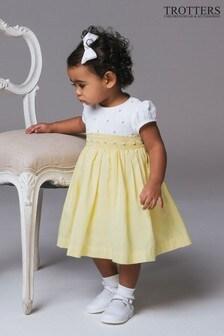 Trotters London 檸檬玫瑰手工褶皺連衣裙