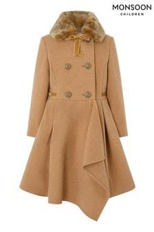 Hnedý kabát so zvlnenou fazónou Monsoon