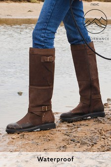 Высокие водоотталкивающие кожаные сапоги в жокейском стиле
