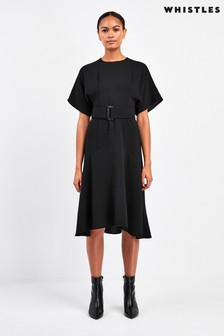Whistles Black Textured Belted Midi Dress
