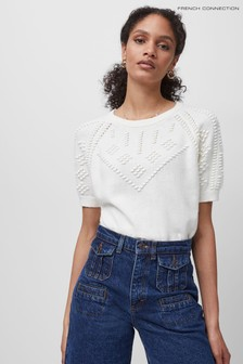 French Connection White Karla Knitted Top