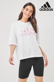 adidas Weit geschnittenes T-Shirt mit Blumenmuster
