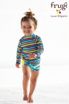 Frugi Oeko Tex UPF 50+ Blue Rainbow Whales Trunks