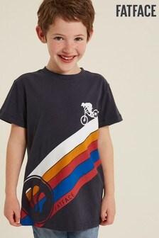 FatFace Blue Retro Bike Stripe Graphic T-Shirt
