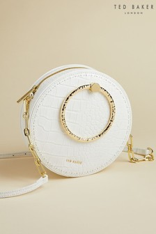 Ted Baker Cream Millah Circle Leather Exotic Cross Body Bag