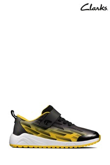 Clarks Black/Yellow Aeon Pace Kids Trainers