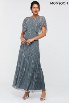Monsoon Blue Florence Embellished Maxi Dress