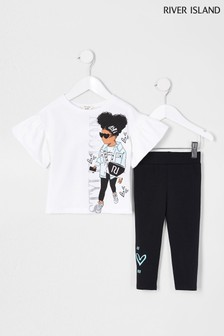 River Island White Style Icon Girl T-Shirt And Leggings