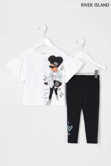 חולצתטי וטייץ שלRiver Island דגםStyle Icon Girl בלבן