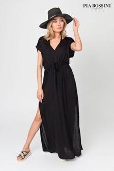 Vestido largo negro con cordón ajustable en la cintura de Pia Rossini