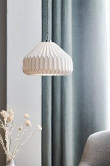 White Akira Porcelain Easy Fit Lamp Shade