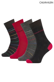 Calvin Klein Red Karsyn Stripe Socks Four Pack Gift Box