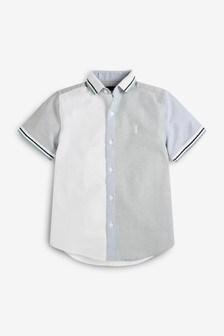 قميص كتل لون بكم قصير بياقة جيرسيه (3-16 سنة)