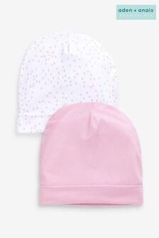 Комплект из двух шапочек (розовая/с сердечками)aden + anais