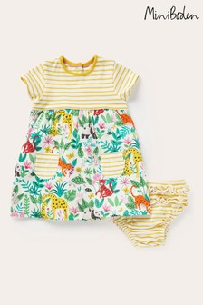 Boden黃色平織彩繪連衣裙