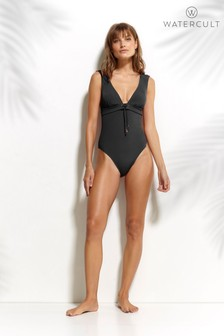 Watercult Black Ribbed Summer Solids Plunge Swimsuit