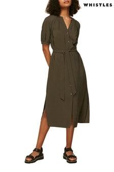 Whistles Khaki Belted Mini Dress