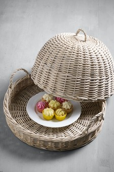 غطاء طعام صفصاف مغزول باليد